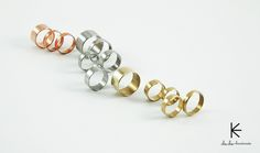 """Stylish minimalistic Stainless Steel, Copper, Brass Rings """"Back to Basics"""" Collection by Cheche Handmade / cheche.lt"""
