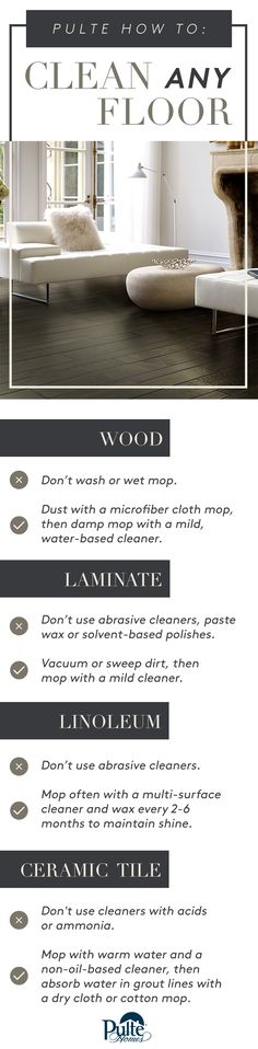 Ready for a clean sweep? Whether you have wood, tile, linoleum or laminate, here are the do's and don'ts to clean any floor. | Pulte Homes