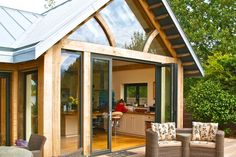 Patio and Bi-Fold Door Differences. If you would like to let more light into your home, but also would like the functionality of a door, allowing access to your garden and views. Outdoor Doors, Patio Doors, Folding Doors, Gazebo, Outdoor Structures, Cabin, House Styles, Home Decor, External Doors