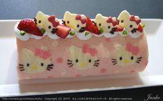 キティちゃん模様のピンク色ロールケーキ
