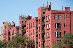 New York City Boroughs ~ Brooklyn | Tower Buildings, comprising nine red-brick, six-storey buildings, full block of Hicks between Warren and Baltic, Cobble Hill. Designed by William Field & Son, 1879.