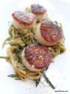 Super Fast: Seared Sea Scallops over Julienned Zucchini