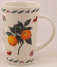 Tall-Kent-Pottery-Coffee-Mug-Fruit-Peach-Pattern-5