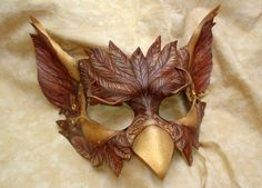 Steampunk Alice in Wonderland Leather Gryphon Griffin Mask.