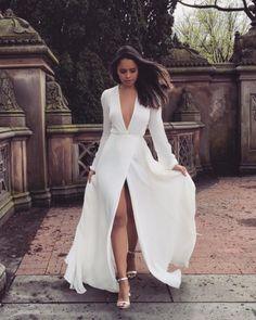 Long V neck full sleeve white prom dress - women fashion