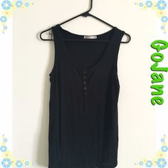 Black button down tank GoJane black button down tank top. Size: large. Stretchy. Fits to body type. Color: Black. Brand: GoJane. 86% Rayon, 10% Polyester, and 4% Spandex. Hand wash cold. ✨ GoJane Tops Tank Tops