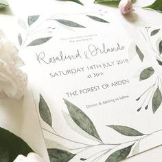 Hand painted watercolour wedding invitations, inspired by Rosalind & Orlando from Shakespeare's 'As You Like It'.  #botanicalinvitation #weddingstationery #watercolourweddingstationery #handpaintedinvitation #leafyinvitation #botanicalstationery #foliage #bohoinvite #bohobride #bohowedding #weddingfoliage