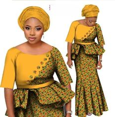 African Two Piece Set Women Mermaid Style Half Sleeve Crop Tops And Long Skirt