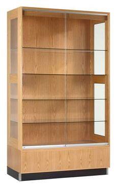 Diversified Woodcrafts Premier Display Cabinets Hardwoods, solid oak