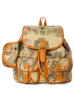 Map Print Classic Backpack - this would be absolutely adorable for a vacation, or to inspire travel!