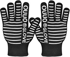 OUUO Extreme Heat Resistant Kitchen BBQ Gloves Oven Mitts With Fingers For Cooking Grilling or Baking Gloves, Black) Best Gloves, Heat Resistant Gloves, Extreme Heat, Oven Glove, Grilling, Bbq, Black, Fingers, Gift Ideas