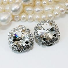 Crystal Clear Clip on earrings Clip On Earrings large by TIMATIBO