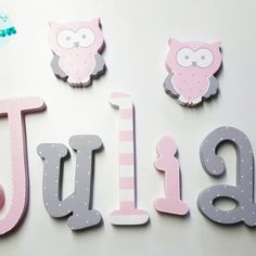 Baby Letters, Wood Names, Baby Bedroom, Door Signs, Decoration, Decoupage, Baby Shower, Birthday, Diy