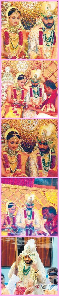Aishwarya Rai Bachchan and Abhishek Bachchan on their wedding day.