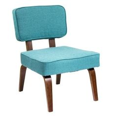 Nunzio Mid-Century Modern Accent Chair in Teal Fabric by LumiSource
