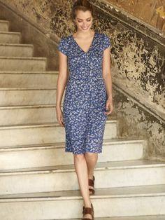 Ex-White-Stuff-Ladies-Summer-Persian-Jersey-Wrap-Floral-Summer-Blue-Grey-Dress