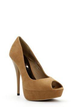 Faux Leder Peep Toe Camel Schuhe - Absatz: 13cm / Sohle: 4cm - Normalgröße - Passform: fällt schmal aus