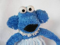 Sock Monkey Doll Plush Toy in Blue with by AsYouWishCreations4u, $32.00