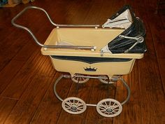 1950s PLASTIC CELLULOID  DOLL PRAM CARRIAGE BUGGY TLC STILL CUTE!  SOUTH BEND? German Costume, Prams And Pushchairs, Wooden Wheel, Dolls Prams, South Bend, Patch Kids, Doll Furniture, Doll Accessories, Baby Dolls