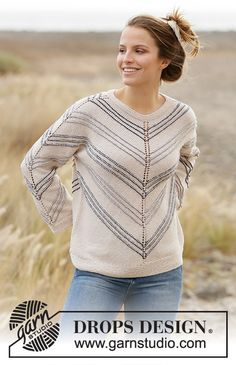 Spring Lineup - Knitted jumper in DROPS Belle. Piece is knitted top down at an angle with stripes. Size: S - XXXL Free knitted pattern DROPS Drops Design, Knitting Patterns Free, Knit Patterns, Free Knitting, Finger Knitting, Knitting Tutorials, Laine Drops, Yarn Brands, Knit Crochet