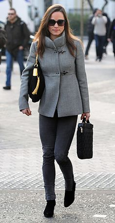 Pippa Middleton paired her gray Fay coat and matching French Connection jeans with Gucci's 1970 medium shoulder bag in black suede.