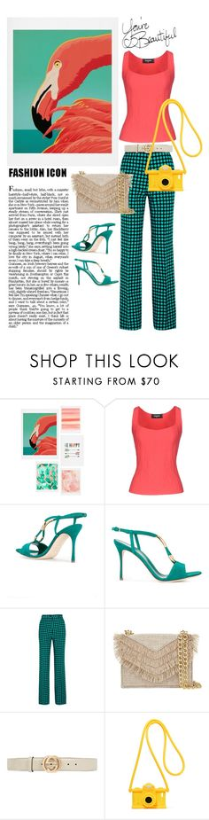 """Colors game"" by maytal-gazit on Polyvore featuring DENY Designs, Dsquared2, Sergio Rossi, Bottega Veneta, Cynthia Rowley, Gucci and Moschino"