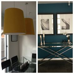 Yellow and teal home decor