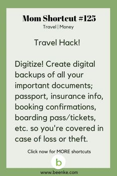 Travel And Money Saving Hacks For The Whole Family! - Beenke - Travel and Money Shortcuts Digitize your travel documents. Get your daily source of awesome life hacks and parenting tips! CLICK NOW to discover more Mom Hacks. Travel Money, Travel Tips, Travel Hacks, Travel Ideas, Travel Info, Simple Life Hacks, Useful Life Hacks, Mom Hacks, Money Saving Tips
