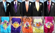 Rainbow Wedding!! I think the men with just the bring 1 flower in the color would be nicer than the ties/vests