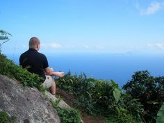 Admiring the view from atop Mount Scenery, the northernmost active volcano (last eruption: 1640) in the Caribbean, which at an elevation of 2,877 feet represents the highest point on the island of Saba, as well as the entire Kingdom of the Netherlands.