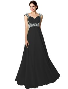 Sarahbridal Womens Long Chiffon Prom Dress Evening Gown with Beading Black     See this great product. (This is an affiliate link) 2b4bfa44b