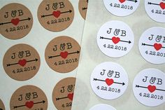 """Personalized wedding stickers by ClementineWeddings.  Beautiful 1"""" round labels are the perfect finishing touch for your wedding, shower, or party favors! Lovely personalized accent for wedding invitations, save-the-dates, or thank you notes."""