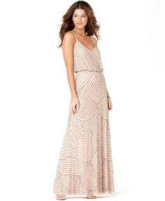 Adrianna Papell Dress, Sleeveless Spaghetti Strap Beaded Blouson Evening Gown - Womens Dresses - Macy's
