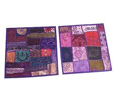 Purple-Embroidered-Cushion-Cover-Patchwork-Vintage-Ethnic-Indian-Pillow-Sham