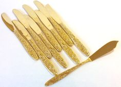 Vintage Gold Flatware Flower Floral Pattern by TheDrippingTap Gold Flatware, Butter Knife, Knife Sets, Flowers, Pattern, Vintage, Etsy, Gold Cutlery, Patterns
