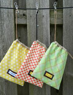 handmade drawstring bags with cool leather label tutorial