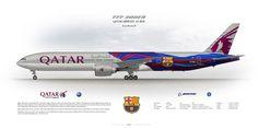 Boeing 777-300ER Qatar Airways A7-BAE FC Barcelona logojet | www.aviaposter.com | Civil aircraft art print | www.aviaposter.com | #scetch #art #airliners #aviation #aviaposter #jetliner #b777
