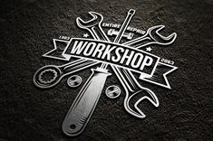 Amazing workshop bundle of tools, hands and logos in vintage style. Perfect for placing on any surface. You can use ready-made logos, edit them, or design your Garage Logo, Garage Art, Pliage Tole, Gaz Monkey, Design Garage, Automotive Logo, Car Logos, Vintage Branding, Garage Workshop