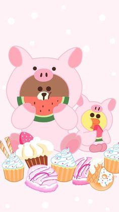 A panda's love for Hello Kitty Lines Wallpaper, Pink Wallpaper Iphone, Bear Wallpaper, Mobile Wallpaper, Kawaii Art, Kawaii Anime, Cute Lockscreens, Wallpaper Fofos, Polka Dot Background