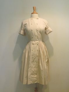 1950s Eggshell Double Breasted Shirt Dress
