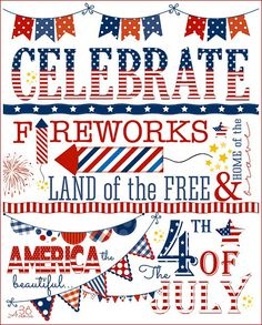 4th of july free subway art printable