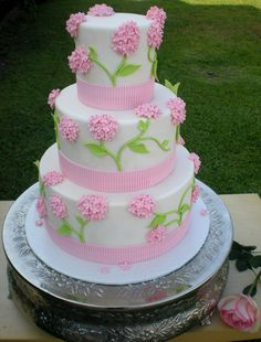 """Another Pink Hydrengga - Cake Dummy with styfrofoam size : 14, 10 & 6 and height : 6"""""""