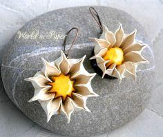 Origami flower earrings, paper flower earrings, hoop earrings, origami white flowers, casual earrings, spring flower earrings, Mother's day by TheWorldinpaper on Etsy