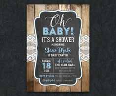 Rustic Lace Baby Shower Invitation Wood by LittleBeesGraphics