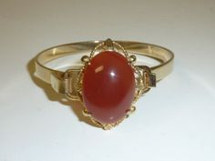 Vintage Carnelian Cabochon Gold Plated by labaublesandbags on Etsy, $55.00