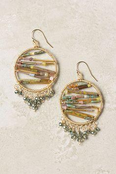 """Nisha Hoops - Anthropologie.com $218 -- 14k gold fill, tourmaline, Czech glass, crystal  2"""" diameter"""