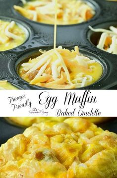 Freezer Friendly Egg Freezer Friendly Egg Muffin Baked Omelette is the perfect grab and go breakfast. The classic omelette baked in a muffin tin. Baked Omelette, Omelette Recipe, Cooking Recipes, Healthy Recipes, Egg Recipes, Recipes Dinner, Potato Recipes, Pasta Recipes, Crockpot Recipes