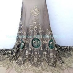 $32 Gold metallic 3D flowers on black netting embroidered fashion show dresses lace fabric 100cm width by yard
