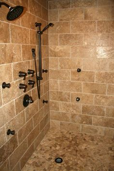 stone subway tile in shower Bathroom Tub Shower, Stone Bathroom, Master Shower, Basement Bathroom, Bath Tub, Bathroom Flooring, Bath Room, Master Bathroom, Tile Showers