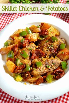 During warm weather, I love recipes I can cook on the stove top like this skillet chicken with potatoes. It's a flavorful dish with herbs and white wine.